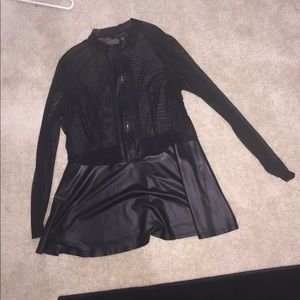 Cute peplum mesh and faux leather top